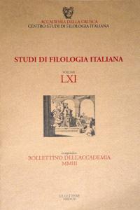 Studi di filologia italiana, Accademia della Crusca