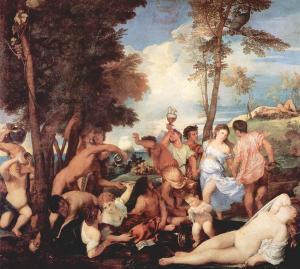 """Tiziano Vecellio, """"Baccanale degli Andrii"""",  1523-26"""