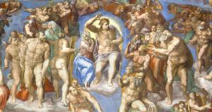 """Dettaglio del """"Giudizio universale"""" di Michelangelo, affresco, 1536-41"""