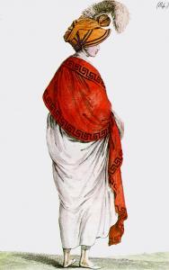Costume Parisien, 1799. Figurino di moda francese