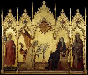 """Simone Martini e Lippo Memmi, """"Annunciazione"""", 1333, Galleria degli Uffizi"""
