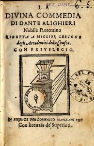 Frontespizio della Divina Commedia di Dante Alighieri