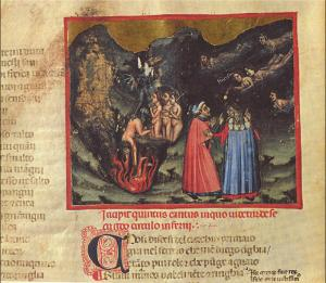 Anonimo di scuola bolognese, Dante e Virgilio incontrano Paolo e Francesca