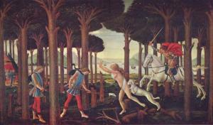 """S. Botticelli, """"La novella di Nastagio degli Onesti"""", 1487. Fonte: Wiki Commons"""