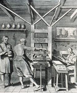 Illustrazione che raffigura una stamperia del XV secolo. Fonte: Olycom spa.