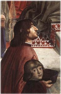 D. Ghirlandaio, Ritratto di Poliziano e Giuliano de' Medici