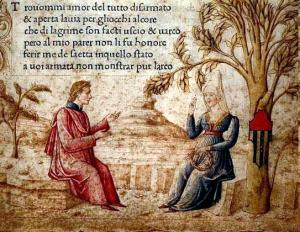 """Laura e Petrarca, miniatura del """"Canzoniere"""", autore anonimo, XIV-XV sec."""