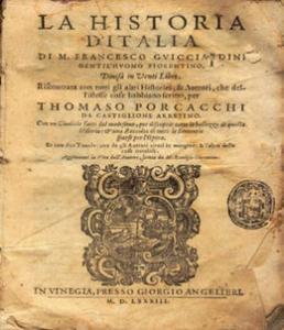 """""""Storia d'Italia"""", Frontespizio dell'edizione del 1540"""