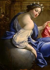 """Urania, dettaglio del dipinto """"Le Muse Urania e Calliope"""" di S. Vouet, 1634"""