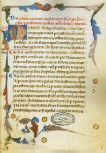 """Incipit del """"Bucolicum carmen nell'autografo vaticano. Fonte: Internet Culturale"""