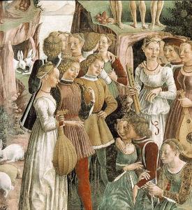 Francesco del Cossa, allegoria del mese di aprile, part. 1470 circa