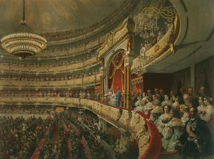 "Mihály Zichy, ""Performance in the Bolshoi Theatre"", 1856. Fonte: Wikimedia Commo"