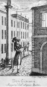 """Medardo Thonert, """"Luigi Bassi come Don Giovanni"""", incisione, Lipsia, 1787-88"""
