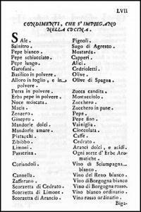 """Pagina tratta da """"L'Apicio moderno"""" di Francesco Leonardi, Roma, 1790"""