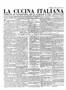"""""""La cucina italiana"""", primo numero del 15 dicembre 1929"""