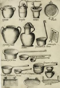 Utensili da cucina, illustrazione tratta dall'Opera di Bartolomeo Scappi, 1570.