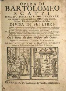"Bartolomeo Scappi, ""Opera"", Venezia, Alessandro de Vecchi, 1622.Wikicommons"