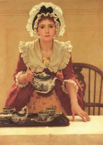 """George Dunlop Leslie, """"Tea"""", olio su tela, 1894 circa, Collezione privata."""