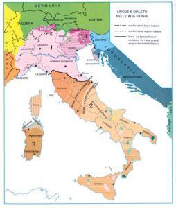 Carta linguistica del territorio italiano e dei territori circostanti
