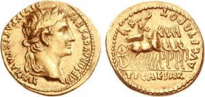 Moneta imperiale raffigurante Tiberio