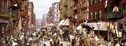 Mulberry Street, nel quartiere italiano di New York (Little Italy), 1900 circa
