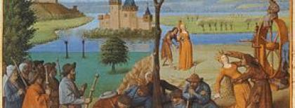 Jean Fouquet, La Halte des pèlerins; Combat de Fortune et Pauvreté (1460-1465)
