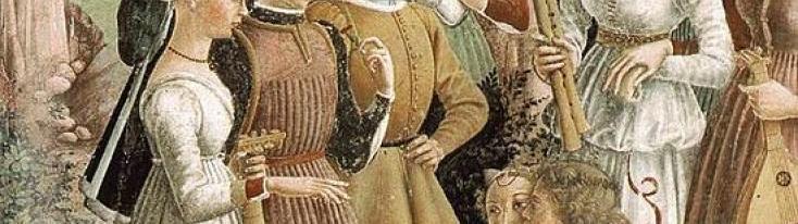 """Francesco Cossa, """"Allegoria del mese di Aprile"""", 1470 circa"""