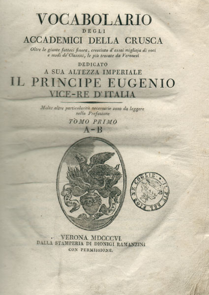 Riedizione del Vocabolario rimaneggiata da Antonio Cesari