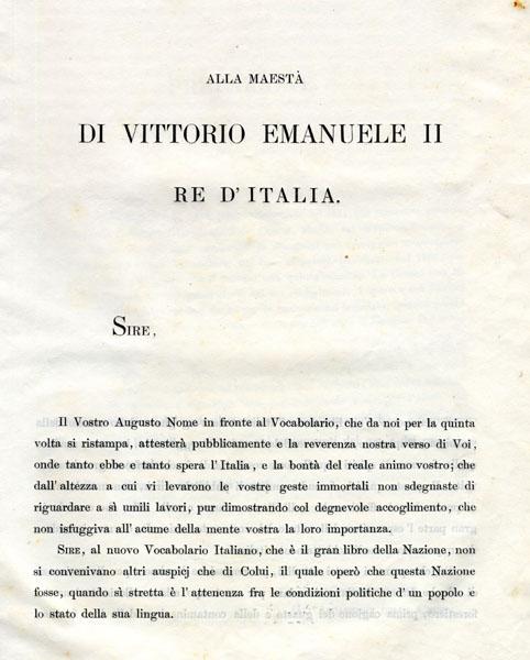 Dedica a Vittorio Emanuele II