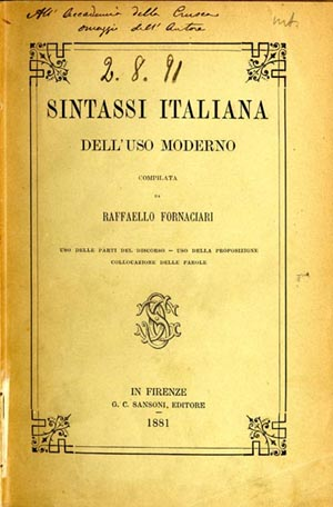 Fornaciari, Sintassi italiana
