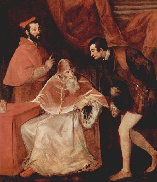 """Tiziano, """"Ritratto di Paolo III con i nipoti"""", 1546"""