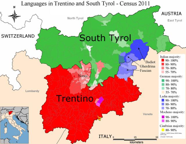 Mappa dei gruppi linguistici in Trentino Alto Adige