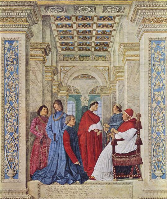 Il Platina ritratto da Melozzo da Forlì, 1477