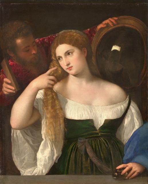 """Tiziano, """"Fanciulla allo specchio"""", 1512-15"""