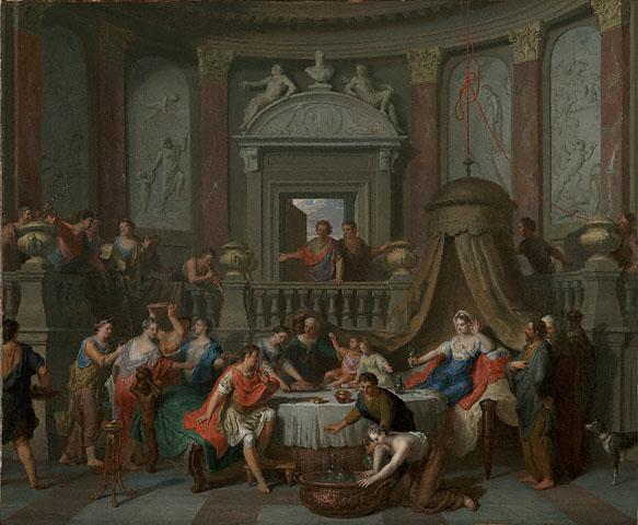 """Gerard Hoet, """"Il banchetto di Cleopatra"""", 1700"""