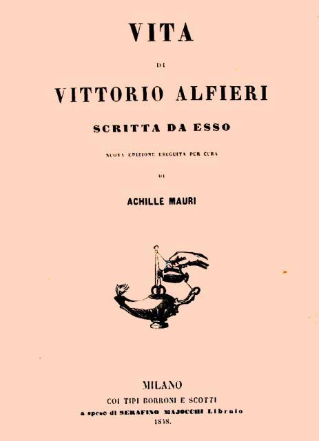 """Frontespizio della """"Vita"""" di Alfieri"""