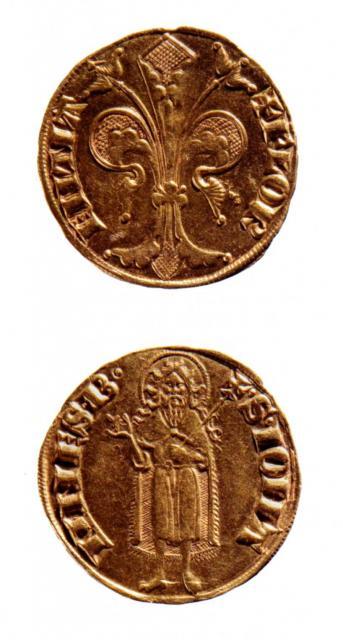 Fiorino d'oro (III serie), recto e verso, 1252-1303