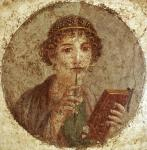 """Affresco pompeiano, cosiddetto """"Saffo"""", 55 d.C."""